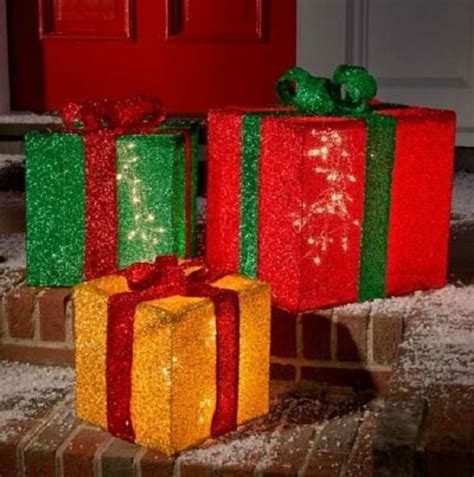 set of 3 lighted pre lit big presents gifts