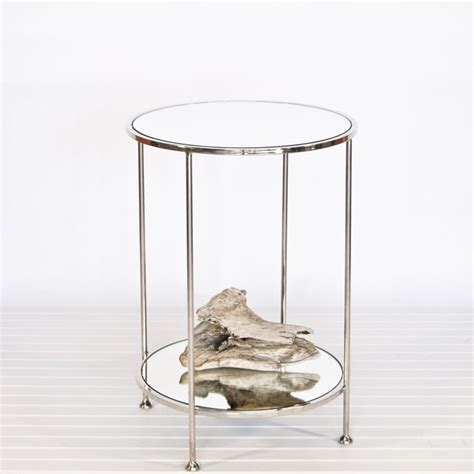 small mirrored accent table worlds away chico small 2 tier nickel plate side table