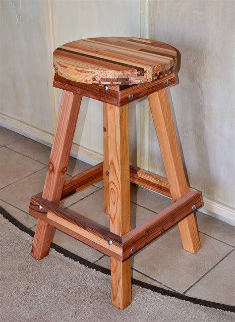 backless wooden bar stool custom  redwood stools