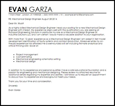 mechanical design engineer cover letter sample cover