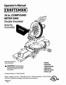 Craftsman 12 In  Compound Miter Saw 315 21222 Operator S