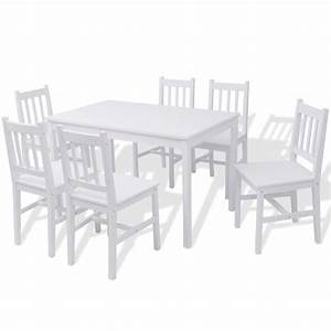 Esstisch Set Weiß : vidaxl siebenteiliges esstisch set pinienholz wei g nstig kaufen ~ Indierocktalk.com Haus und Dekorationen