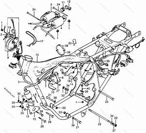 Honda Motorcycle 1977 Oem Parts Diagram For Wire Harness    Frame