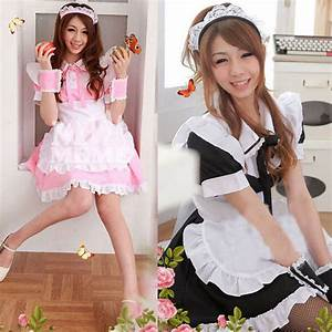 Sweet Girls Lolita Cosplay French Maid Costume Princess ...