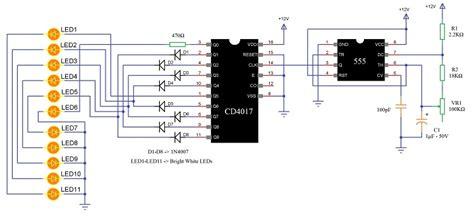 led rider circuit led running light led chaser circuit two way running led