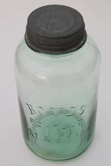 antique green glass big  quart canning jar boyds perfect mason jar  ball zinc lid