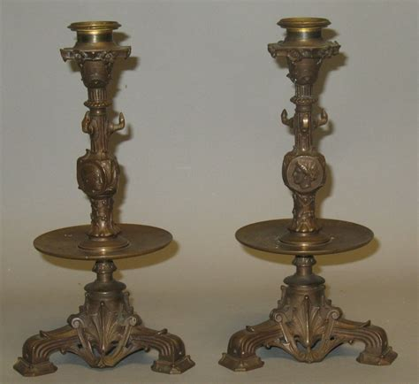 antique candle holders antique barbedienne bronze candle holders c 1870