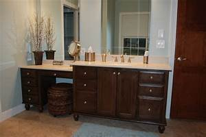 What are the dimensions of the built in makeup vanity for Making a bathroom cabinet