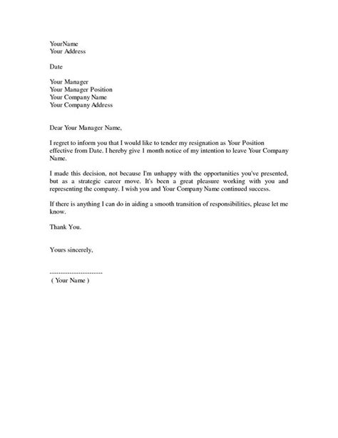 Simple Resignation Letter 1 Month Notice As Sample Of Formal Hd in 2021 | Resignation letter