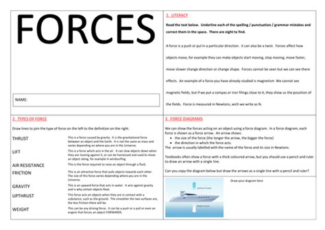 introduction to forces by toomanykays teaching resources