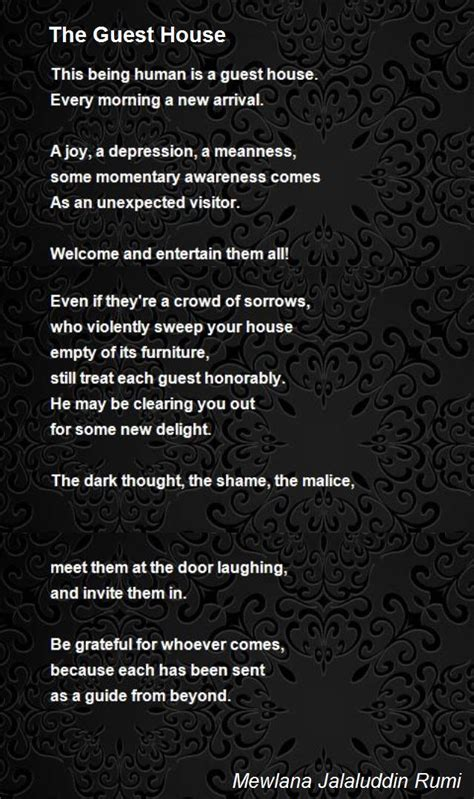 the guest house the guest house poem by mewlana jalaluddin rumi poem
