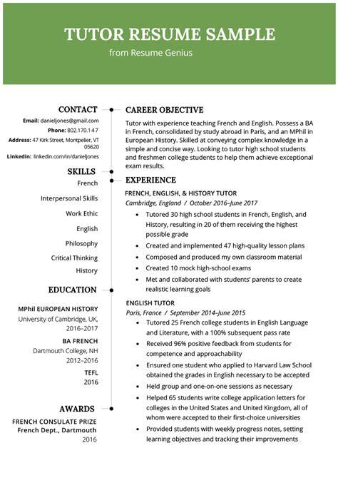 tutor resume sample writing tips resume genius