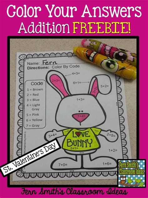 st valentines day color  number addition freebie