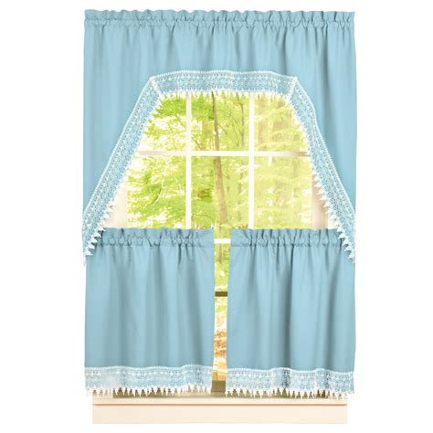 lace valance and tier curtain set ebay