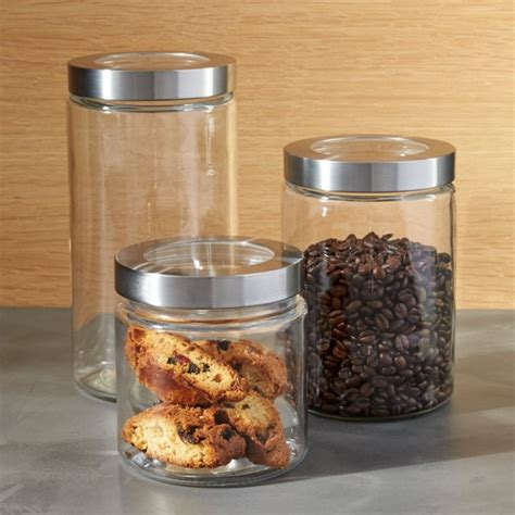 glass storage canisters  stainless steel lids crate