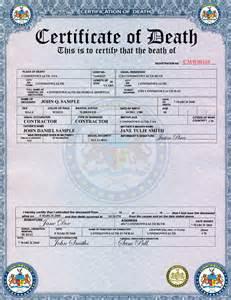 Death Certificate Look Like