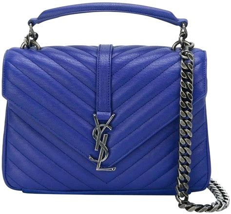 saint laurent monogram classic ysl medium royal blue leather shoulder bag tradesy