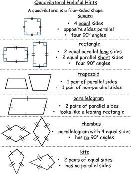 quadrilateral helpful hints  worksheets  riess room