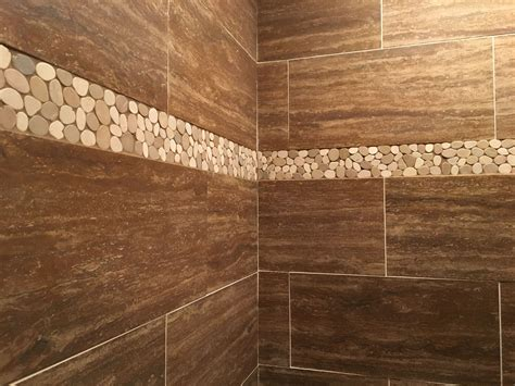 sliced java tan white pebble tile border subway tile