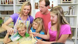 Happy Blonde Caucasian Family Home Kitchen Baking Together ...