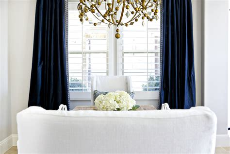 A Glamorous Dining Room In Navy, White, And Gold. Curtain Wall Hook Shower French Fire Rated Curtains Blue Green Bedroom With Pottery Barn Pink Sheer White Grommets Kids Room Rods