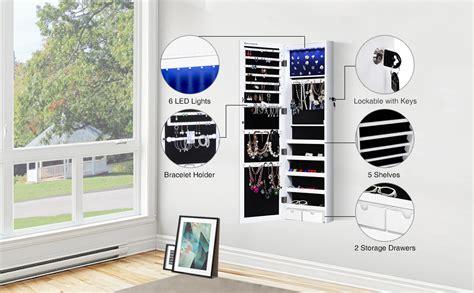 Amazoncom Songmics 6 Leds Jewelry Cabinet Lockable Wall
