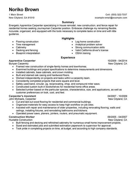 Carpentry Resume Skills by Unforgettable Apprentice Carpenter Resume Exles To Stand Out Myperfectresume