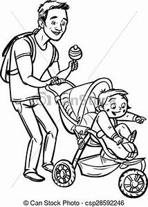 EPS Vector of Funny cartoon father with baby stroller ...