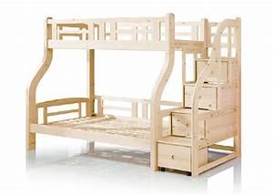 Lit Superposé Escalier : enfants bois massif lit superpos avec tiroir escaliers ~ Premium-room.com Idées de Décoration