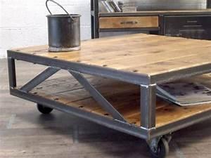 Table Salon Metal : table basse industrielle loft meuble de style industriel bois et acier sur mesure micheli design ~ Teatrodelosmanantiales.com Idées de Décoration