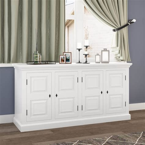 White Sideboard Cabinet by Ennis Solid White Mahogany Wood Large Sideboard Cabinet
