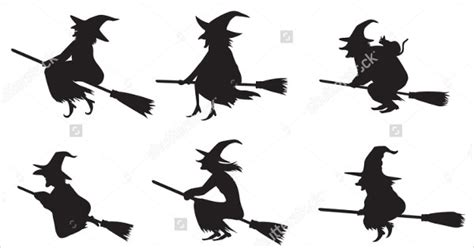 witch silhouette vectors  psd vector ai eps