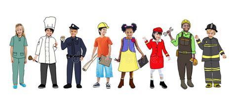 Children Wearing Dream Job Uniforms Stock Illustration