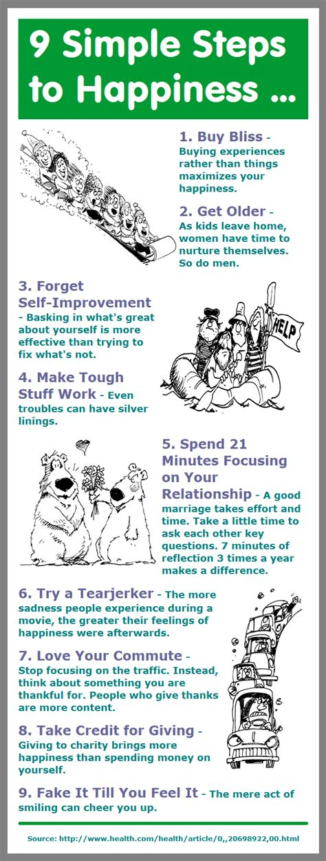 9 Simple Steps To Happiness Infographic  Infographic A Day