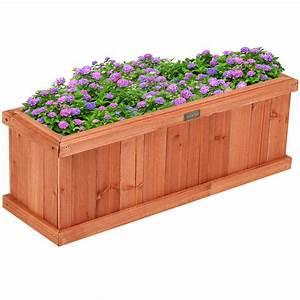 28, 36, 40, Inch, Wooden, Flower, Planter, Box, Garden, Yard, Decorative, Window, Box, Rectangular