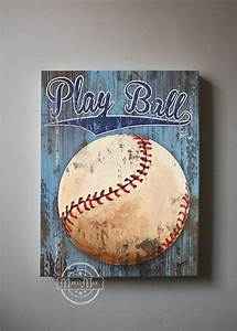 baseball art sports nursery canvas art baseball nursery With baseball wall decor