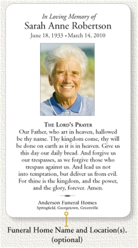 funeral home memorial prayer card info page