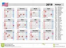 Vector Eenvoudige Kalender 2019 één Jaar In Een