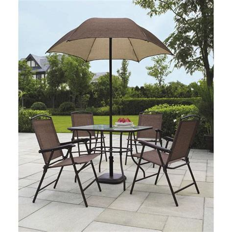 Cheap Patio Sets With Umbrella by Mainstays Sand Dune 6 Folding Patio Dining Set With