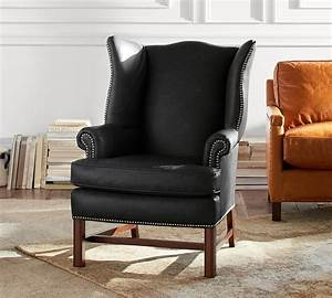 Thatcher Leather Wingback Chair Black Pottery Barn