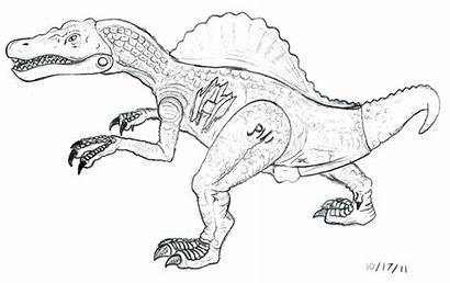 Jurassic Coloring Pages Park Raptor Spinosaurus Drawing