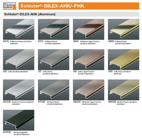 schluter dilex ahk anodized aluminum cove shaped corner profiles