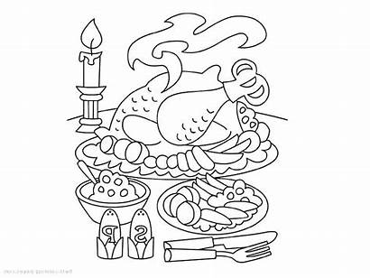 Dinner Thanksgiving Clipart Coloring Table Pages Christmas