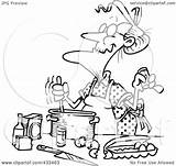Woman Baking Line Coloring Clipart Royalty Illustration Toonaday Rf Leishman Ron sketch template