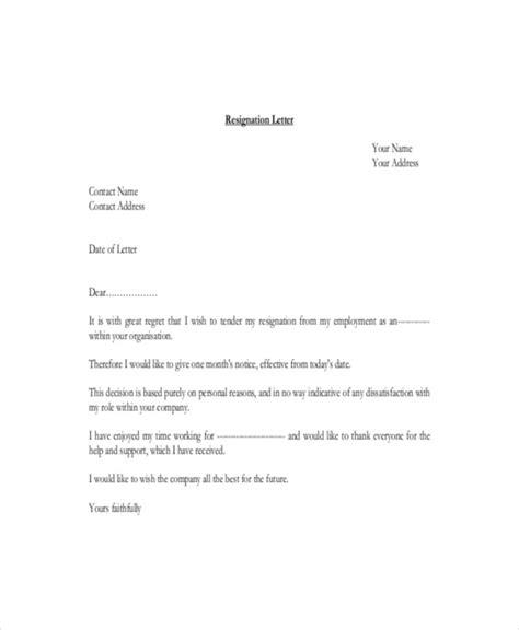 simple resignation letters  premium templates