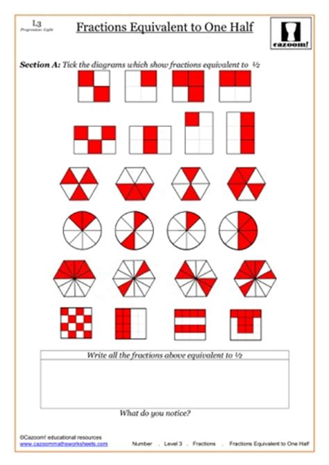 fractions of shapes worksheets year 6 fractions of