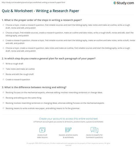 quiz worksheet writing  research paper studycom