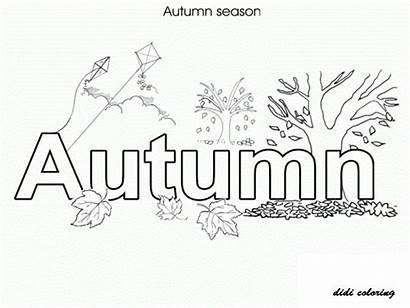 Autumn Coloring Pages Seasons Fall Colouring Season