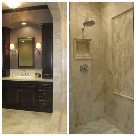 Master Bathroom Tile Designs by A Walk In Travertine Shower Bathroom Tile Bathroom