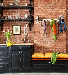 69 cool interiors with exposed brick walls digsdigs With kitchen colors with white cabinets with vintage fire truck wall art